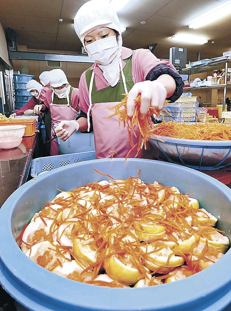かぶらずしを漬け込む従業員=金沢市内の漬物店
