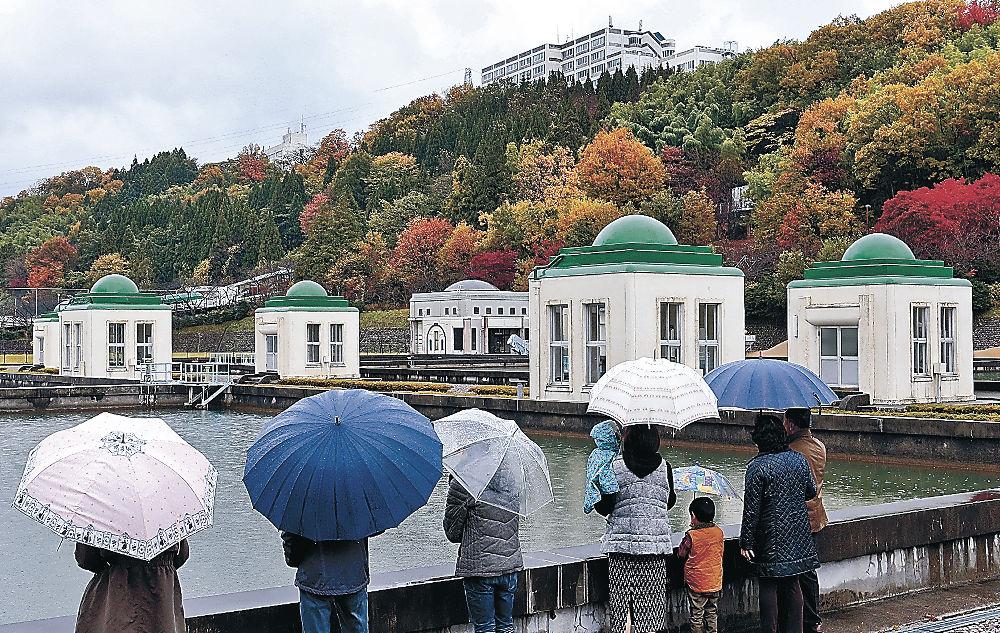 紅葉の景色を楽しむ来場者=金沢市末町の末浄水場