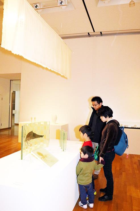 川原さんの受賞作(左上)など、ファイナリストらの工芸作品に見入る来場者=高岡市美術館