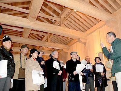 福井城址の山里口御門見学 復元整備は来年3月下旬完了