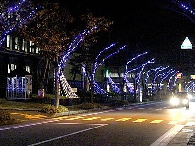 華やか光のトンネル 総延長2.7キロ飾る 見附