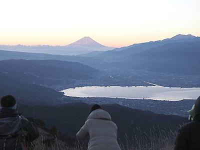 富士山×諏訪湖=年賀状映え! 早朝の高ボッチ高原