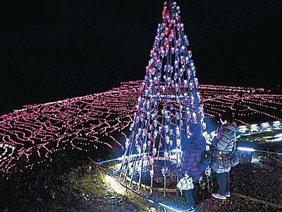 千枚田、クリスマスのきらめき ツリー2本お目見え