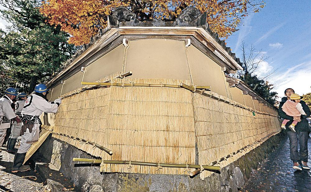 土塀に薦を掛ける職人=金沢市の長町武家屋敷跡