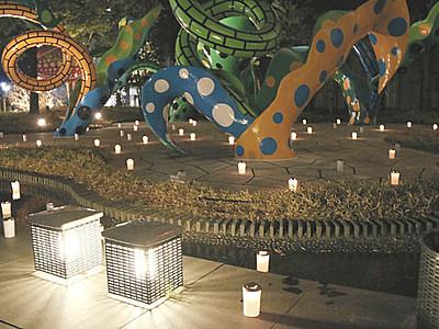 揺れる炎 草間作品演出 松本市美術館キャンドルナイト
