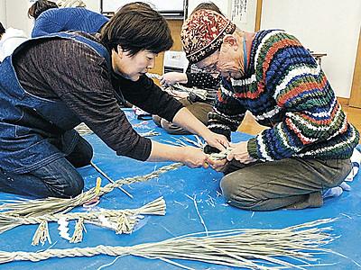 津幡でマコモのしめ飾り作り