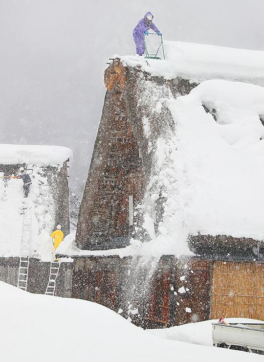 合掌造り家屋の屋根に上がり、雪下ろしをする職員ら=南砺市相倉