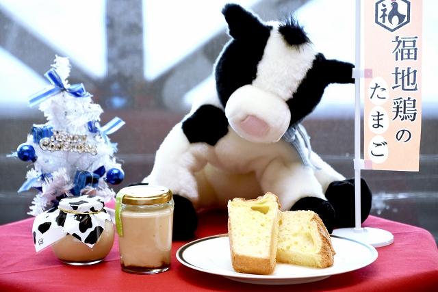 県奥越高原牧場の生乳や福地鶏を使って開発したスイーツ4品=22日、大野市南六呂師のミルク工房奥越前