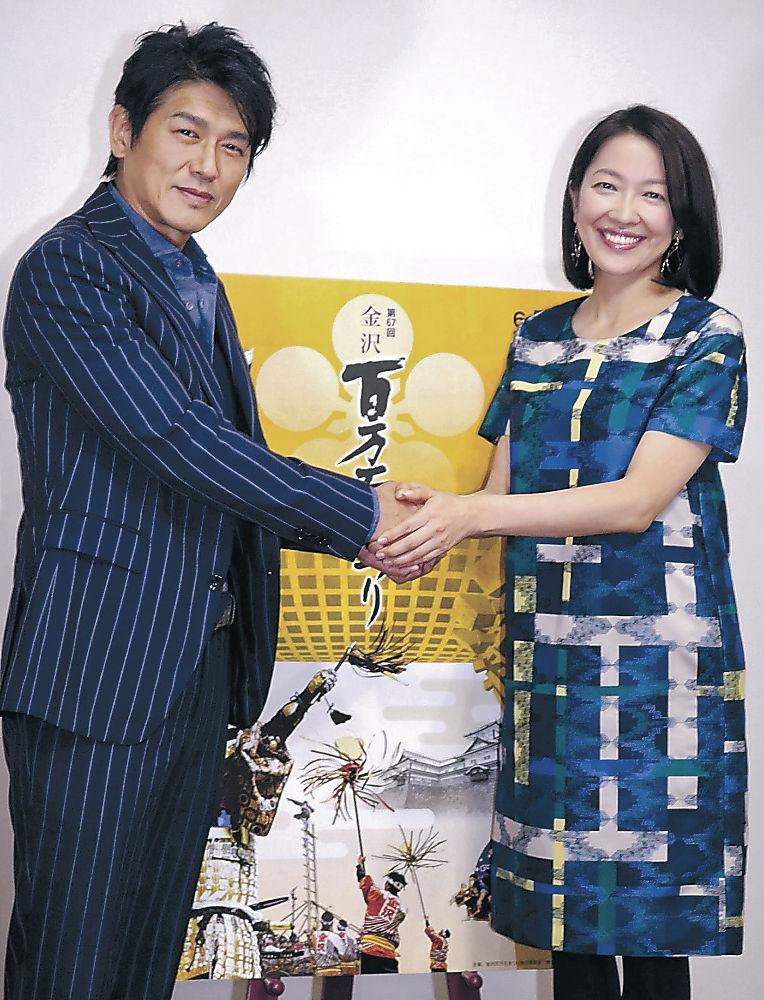 百万石行列への意気込みを示す高橋さん(左)と羽田さん=東京都内