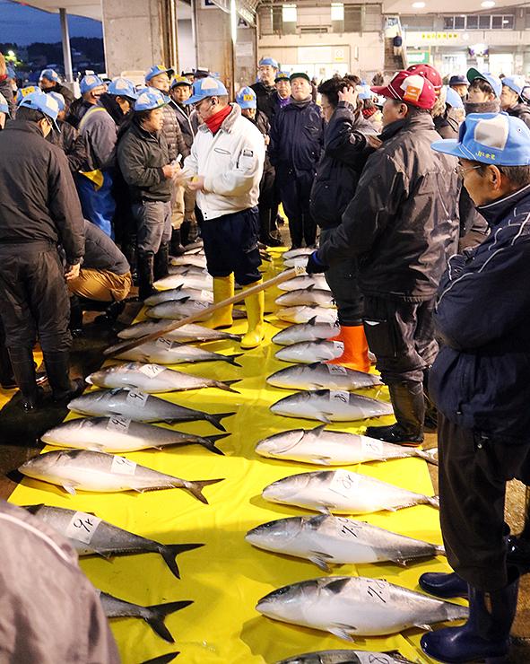 ことし最後の競りでブリを競り落とす仲買人ら=氷見魚市場
