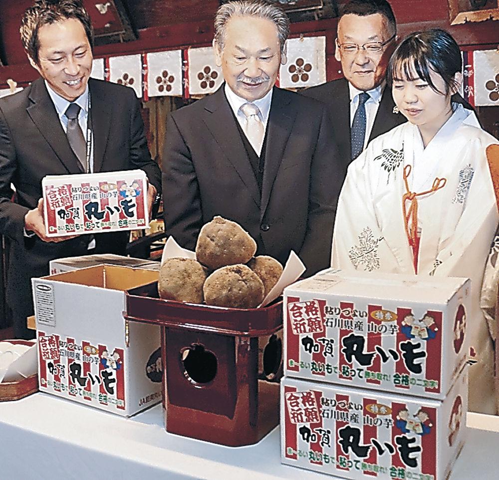 受験生の合格を願い、おはらいを受けた加賀丸いも=金沢市の金澤神社