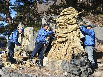 集落守る「神面」新たに 長野で「道祖神祭り」