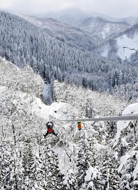 白銀の森を見下ろす形で堪能できるジップライン=2017年1月、池田町志津原