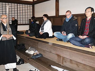 座禅で日本文化体験 駐日外交団が高岡視察