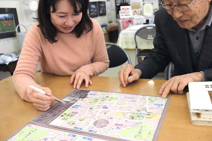 恩田木工民親ゆかりの地を歩くルートを載せた地図。多くの人に恩田の功績などを知ってもらうことを願って作った