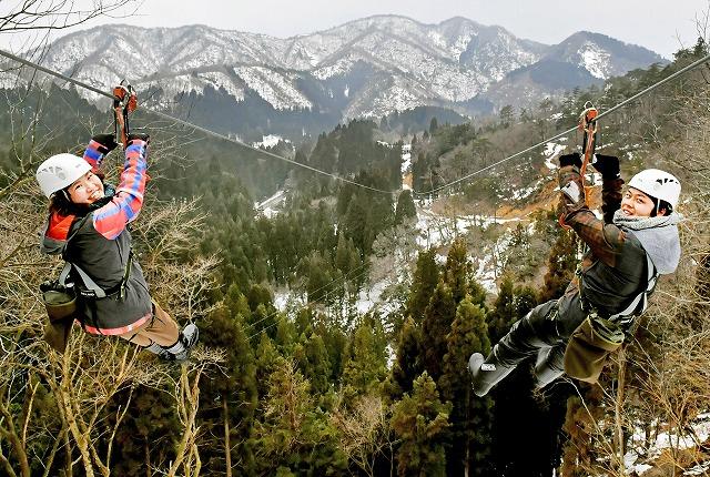 ジップラインで滑空しながら、冠雪の山々や眼下に広がる森の景色を楽しむ来場者=20日、福井県池田町志津原