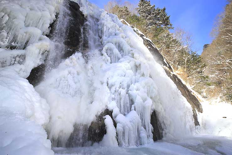 連日の冷え込みで結氷が進み、荘厳な姿を見せる不動滝=25日正午ごろ、高森町