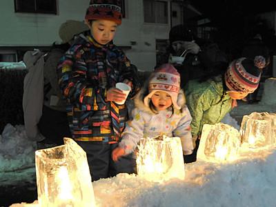 木曽谷に温かい灯 「氷雪の灯祭り」始まる