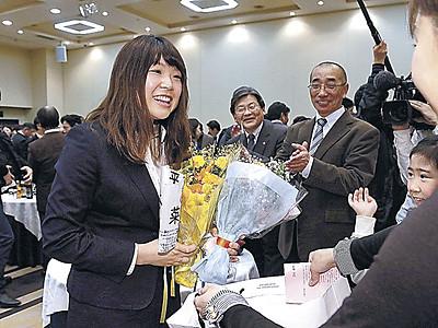石川「メダル諦めない」 金沢で激励会、300人前に決意