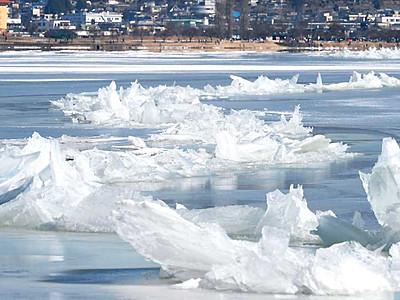せり上がり増す...でも氷上危険 諏訪湖「御神渡り」