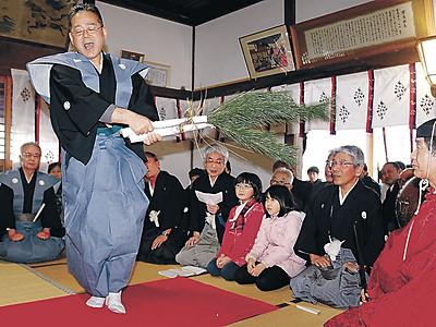 声合わせ「万歳楽土」 門前で田遊び神事、豊作願う舞を披露
