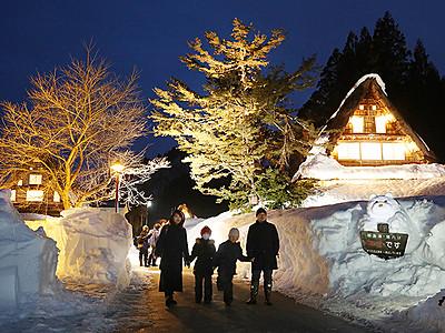 幻想 雪の相倉 きょうからライトアップ