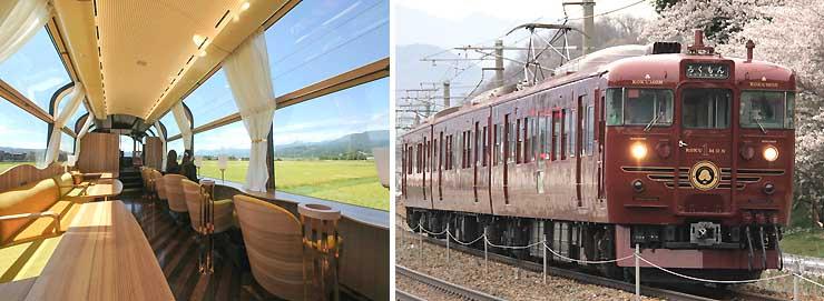 大型窓が特徴の「えちごトキめき鉄道」のリゾート列車「雪月花」(写真左)。しなの鉄道の観光列車「ろくもん」