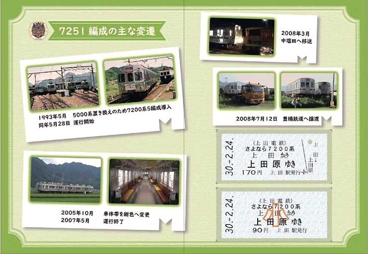7251編成の写真を掲載した台紙と乗車券