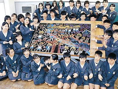 40人で沈金パネル 輪島・河井小6年生が卒業制作