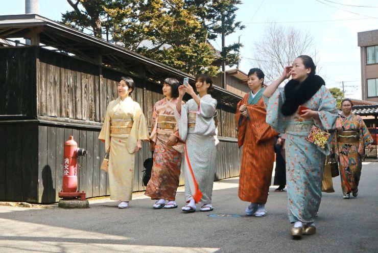 あでやかな着物を身にまとい、城下町村上をぶらりと散策した参加者=20日、村上市