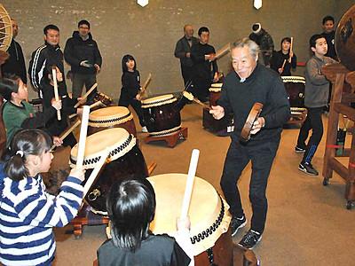 喜多郎さん「太鼓は楽しく」 「第二の故郷」大町で子ども指導