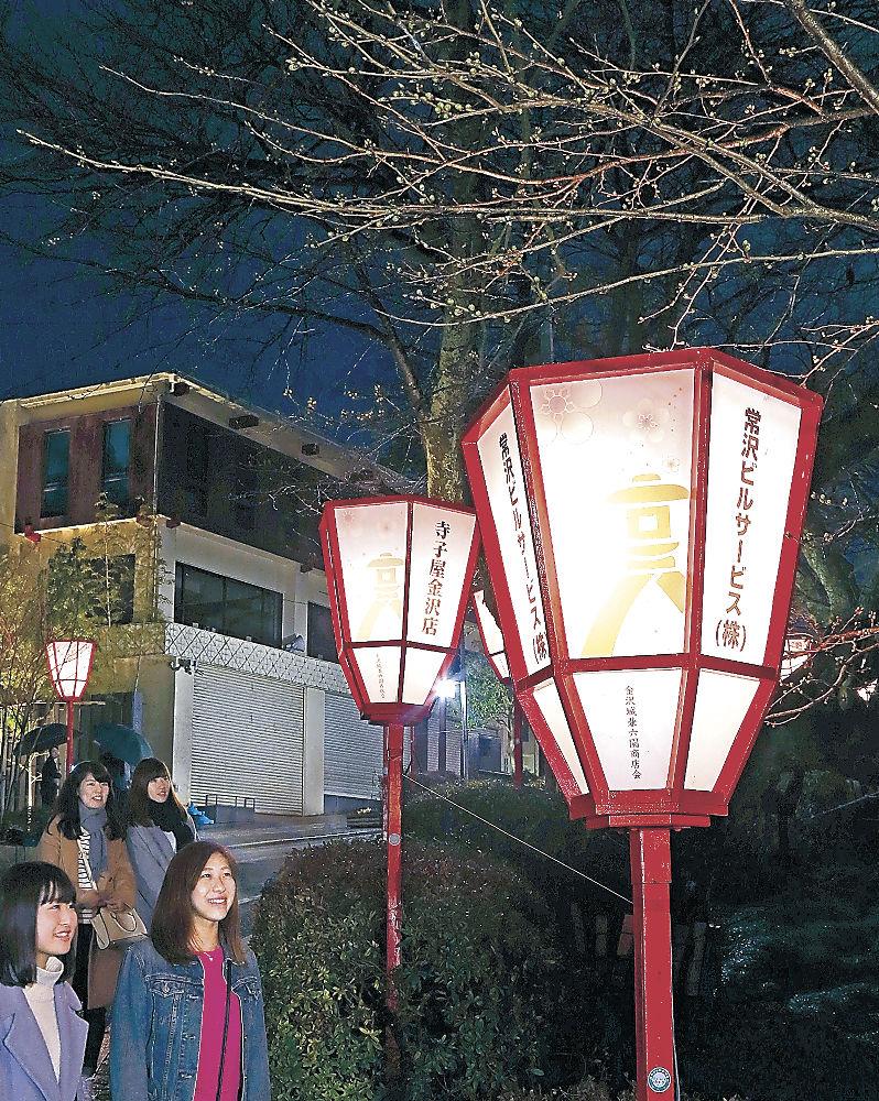 花見シーズンを前に点灯が始まったぼんぼり=金沢市兼六町