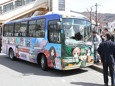諏訪姫ラッピングバス 諏訪市で運行開始