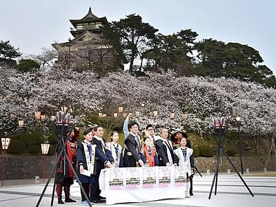 丸岡城下の桜彩るぼんぼり点灯 福井県坂井市、20日までまつり