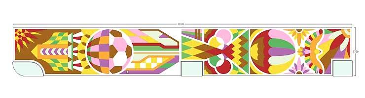 「平成模様」と題した花キャンバスのデザイン