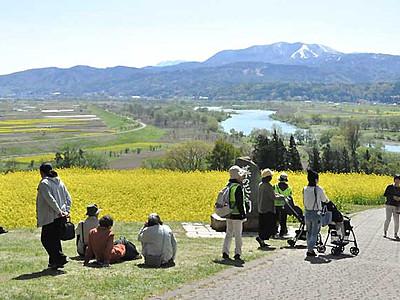 菜の花の飯山、SNS発信を まつり初日に撮影場所巡る