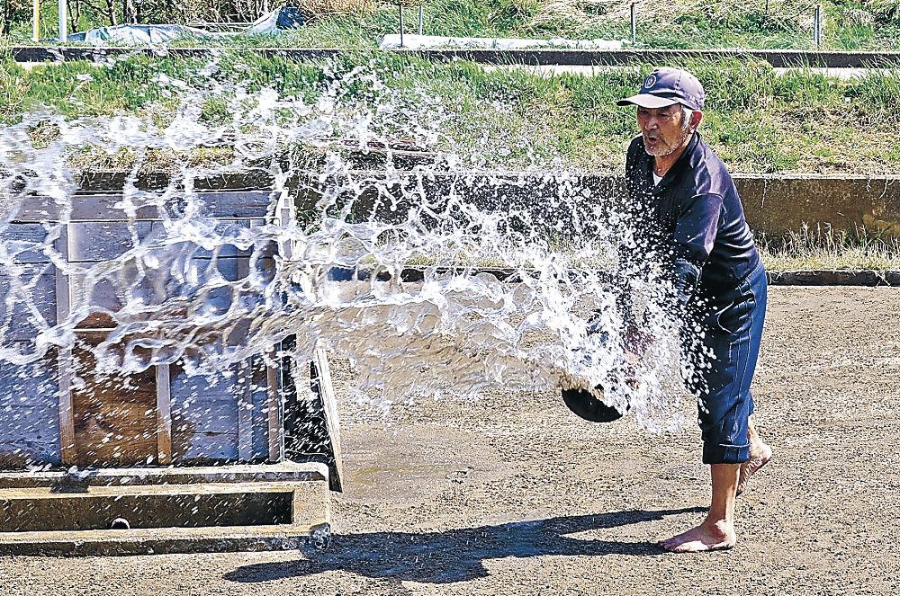 「打桶」を使って海水をまく角花さん=珠洲市清水町