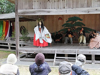 「能」シーズン幕開け 大膳神社例祭で奉納 佐渡市竹田