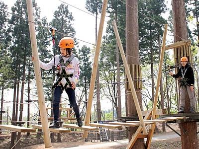 木の上の冒険スリル満点 妙高・ロッテアライリゾート
