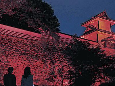 石川門、赤く染まる 世界赤十字デー