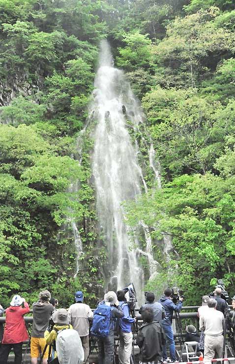 放水によって現れた「樽滝」を撮影する写真愛好家ら