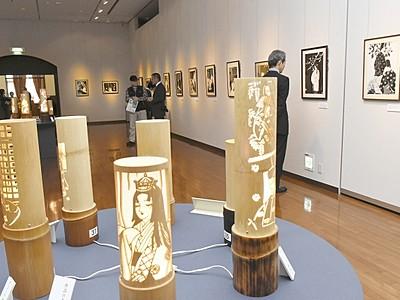 光で描き出す源氏物語、幻想的 切り絵と竹灯籠コラボ