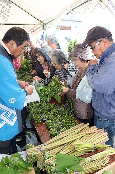 山菜を買い求める人たち