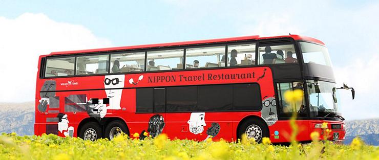 南砺市内を走るレストランバス