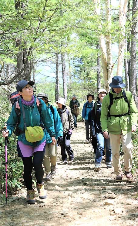斎藤さん(手前左)の案内で入笠山の山頂を目指す参加者ら