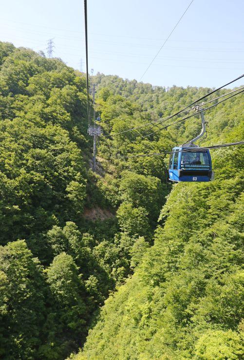 新緑の空中散歩を楽しめるドラゴンドラ=22日、湯沢町三国