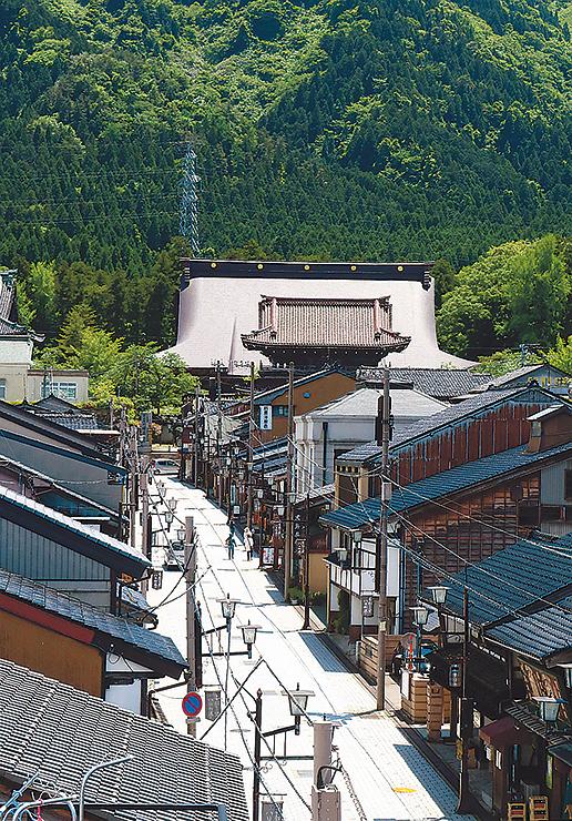 彫刻工房や町家が並ぶ八日町通り沿い。一帯は「木彫刻美術館」として、日本遺産に認定された。正面奥は瑞泉寺=南砺市井波