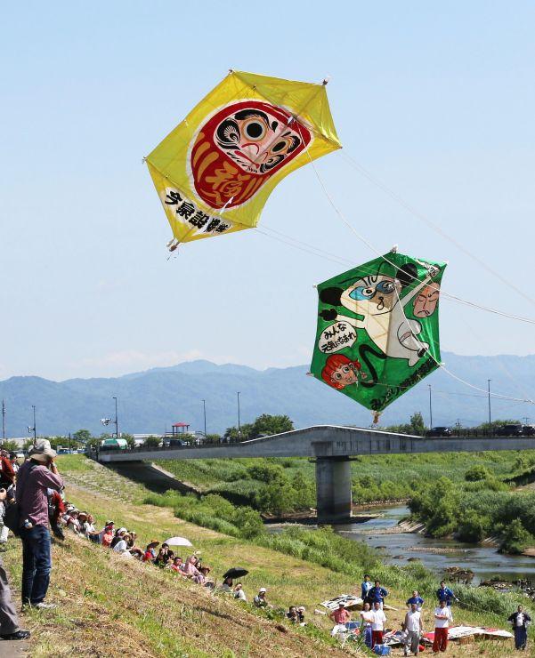 大凧が熱戦を繰り広げた見附今町・長岡中之島大凧合戦=2日、長岡市猫興野
