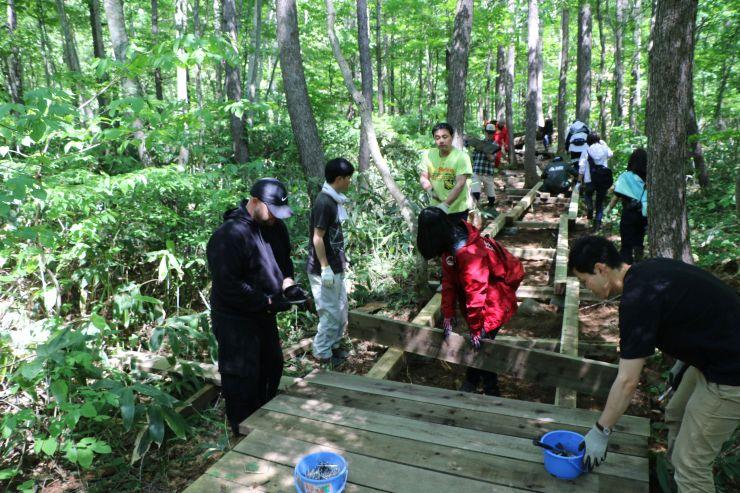 フジロックに向けて、木道の補修に汗を流す参加者=2日、湯沢町の苗場スキー場