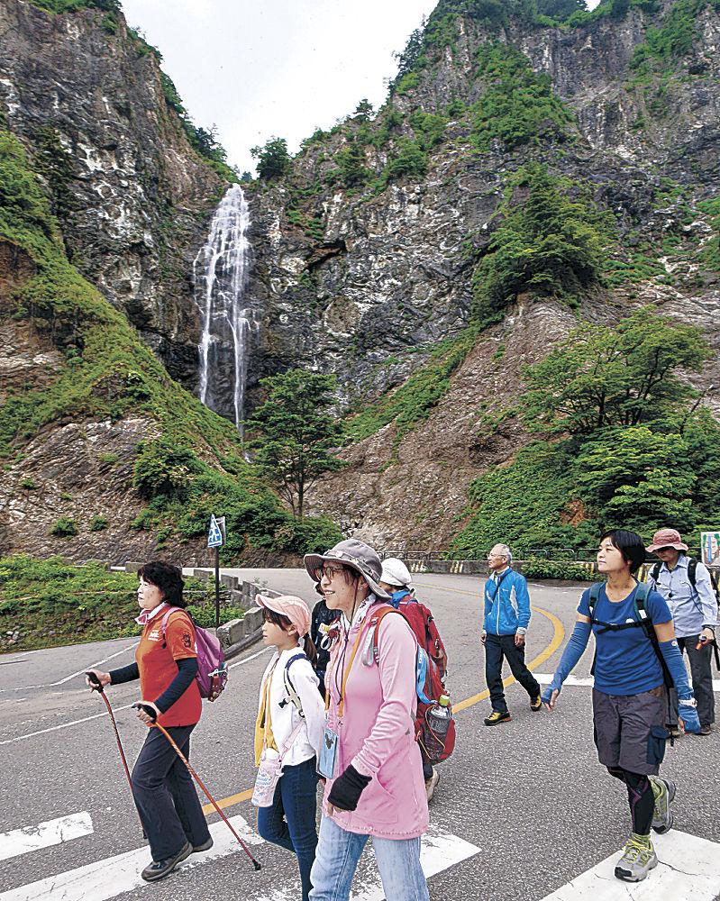 ふくべの大滝を背に開通前の有料区間内を歩く参加者=白山市の白山白川郷ホワイトロード